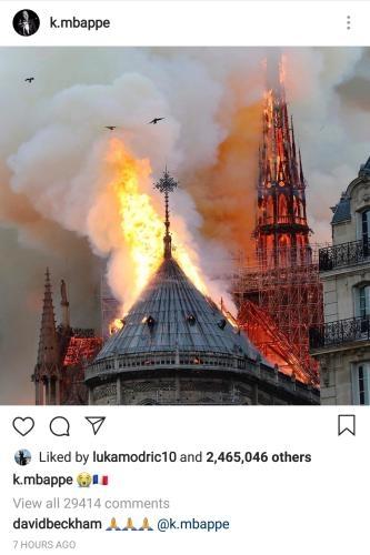 为巴黎圣母院祈祷!球星内马尔、姆巴佩发文哀悼