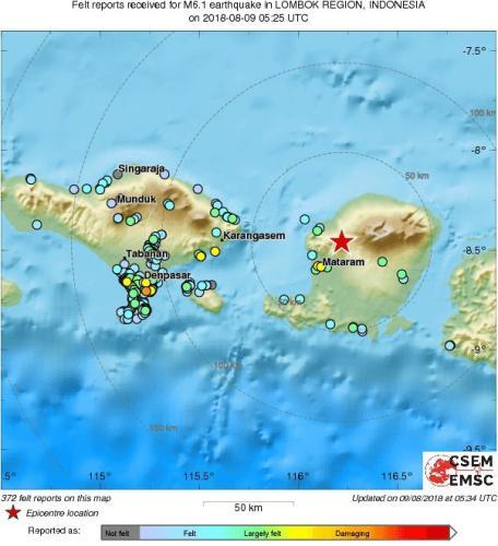外媒:印尼龙目岛再度发生强震 目击者称建筑物倒塌