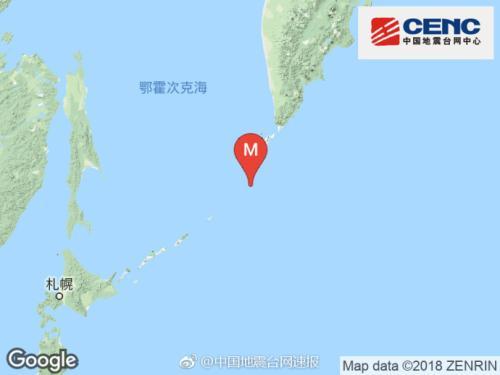 千岛群岛发生6.0级地震 震源深度10千米
