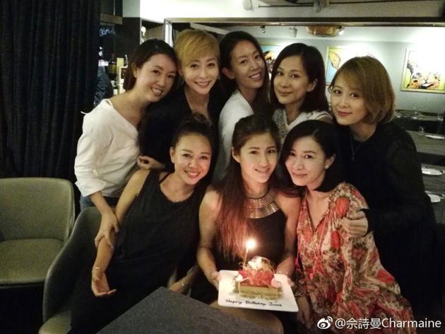 洪金宝儿媳生日 TVB众美女簇拥捧生日蛋糕的周家蔚