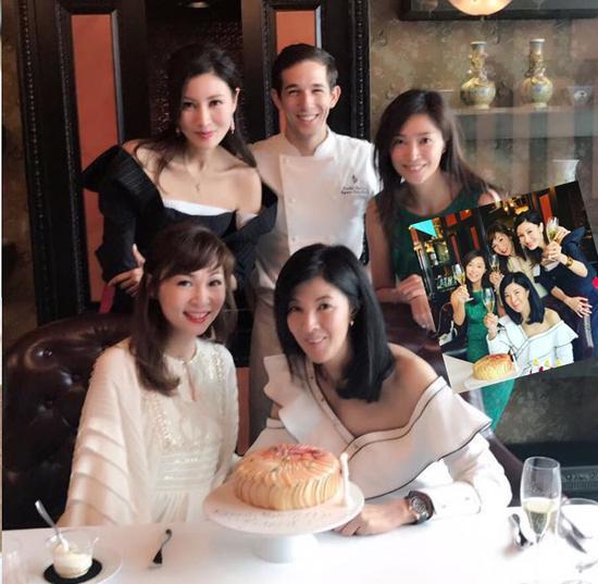 李嘉欣露香肩出席姐姐生日派对 一众闺蜜美艳动人