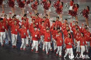 第十三届全运会开幕式举行 代表团入场